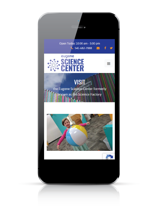Eugene Science Center - web design