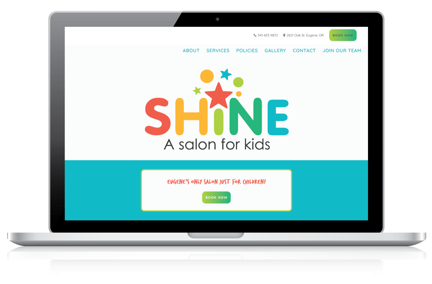 Shine - A Salon For Kids | Web Design | Featured Image