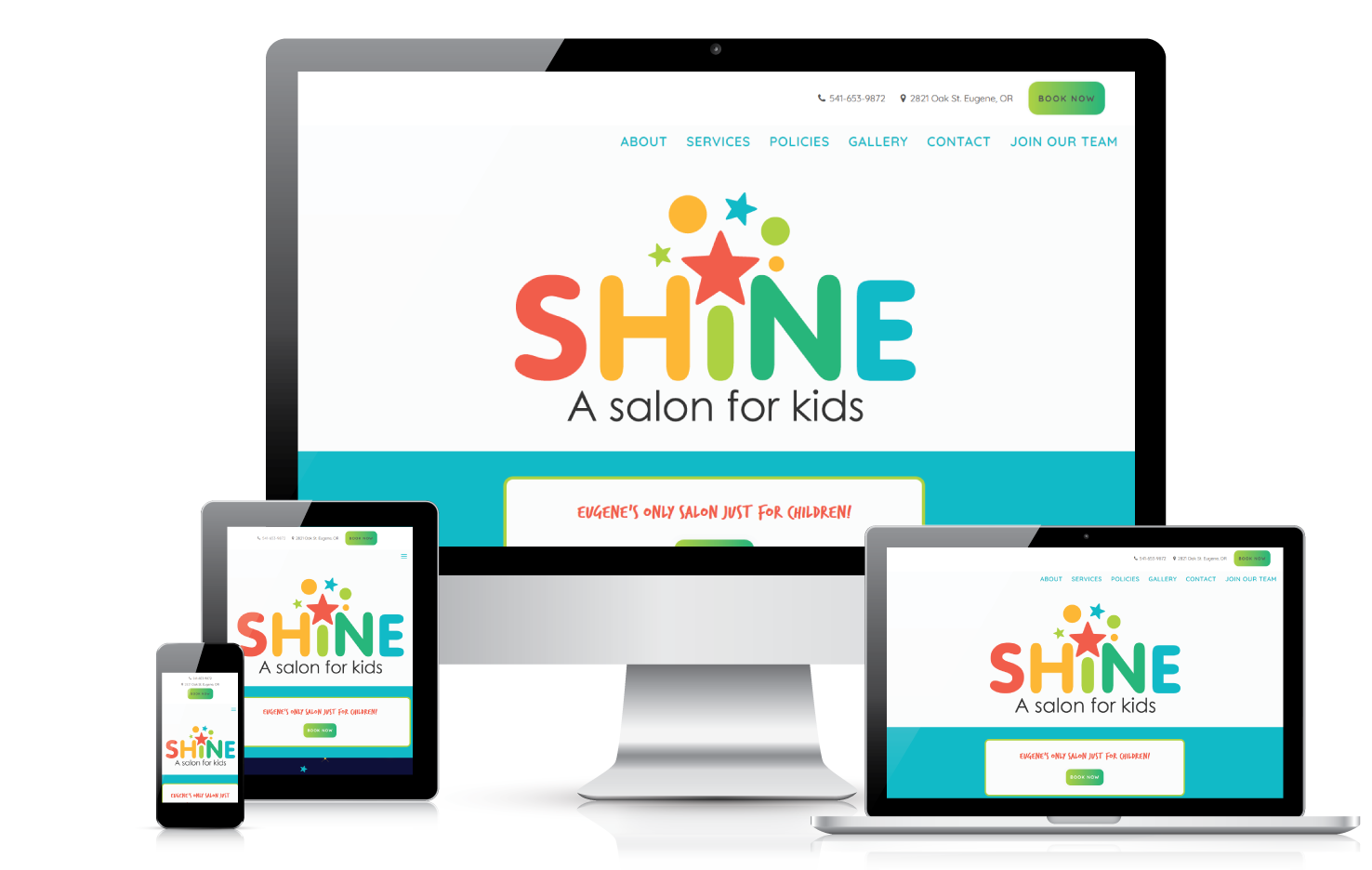 Shine A Salon for Kids | web design | all devices