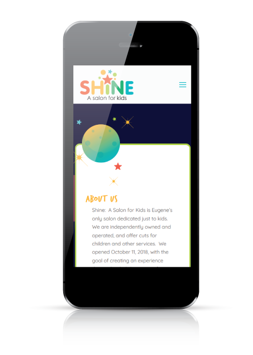 Shine A Salon for Kids | web design | mobile view