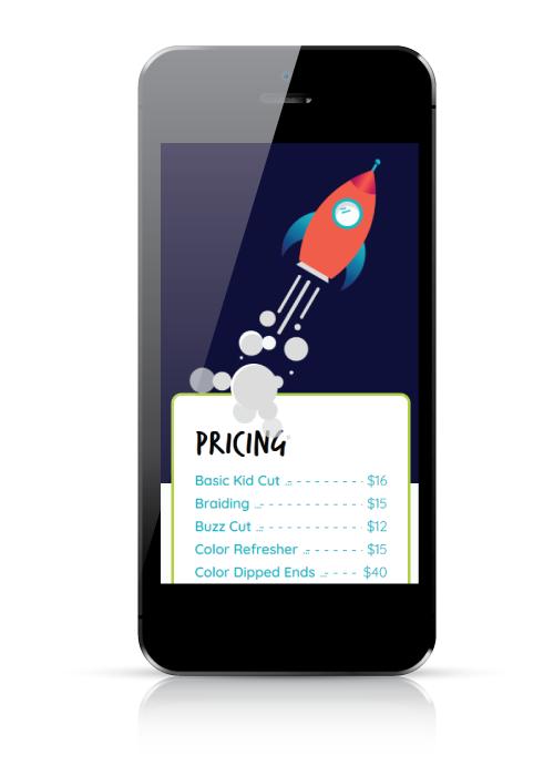 Shine A Salon for Kids   web design   mobile view